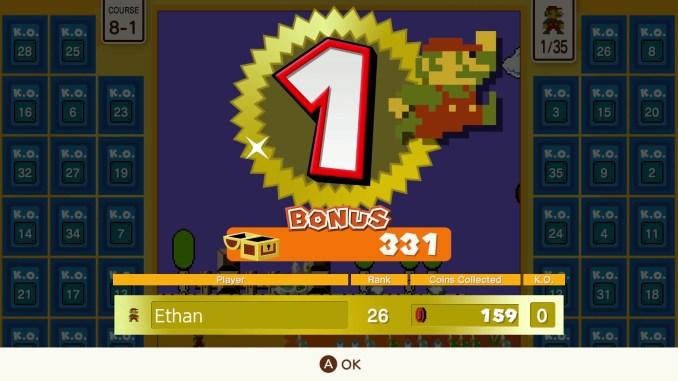"""Das Bild zeigt an, dass man den ersten Platz in einer """"Super Mario Bros. 35""""-Schlacht gewonnen hat."""