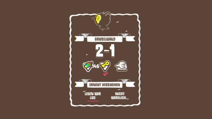 """Das Bild zeigt das Level 2-1 im Gruselwald von """"Ponpu""""."""
