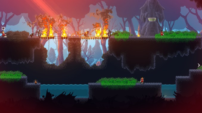 Das Bild zeigt eine brennende Brücke und den Helden mittendrin im Spiel Wildfire