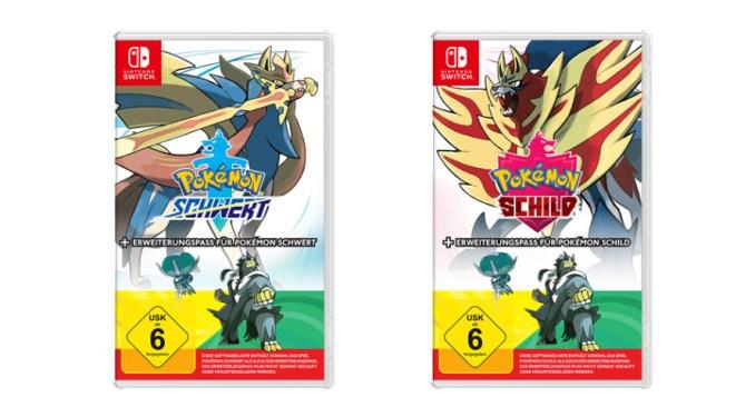 """Das Bild zeigt die Retail-Versionen von """"Pokémon Schwert/Schild"""" inkl. Erweiterungspass."""