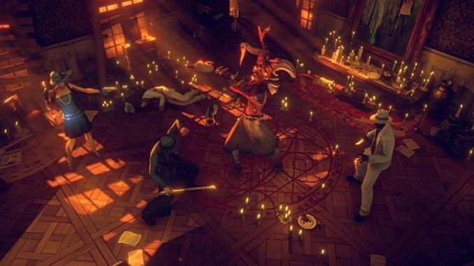 """Das Bild zeigt ein Monster, umzingelt von unseren Helden aus dem Spiel """"Mansions of Madness: Mother´s Embrace""""."""