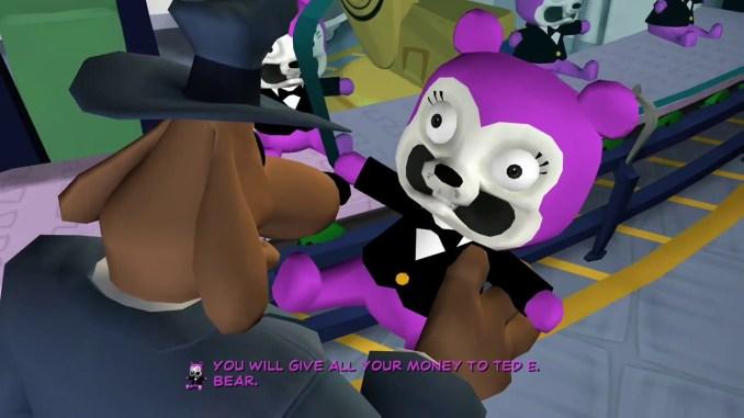 Das Bild zeigt Sam der einen Teddy Bär in der Hand hält aus Sam & Max Save the World