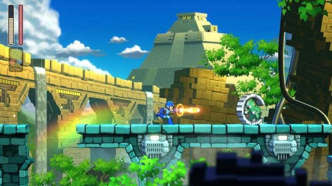 """Das Bild zeigt ein Levelausschnitt aus """"Mega Man 11""""."""