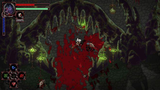 Das Bild zeigt die Spielfigur in einer Höhle voller Blut aus dem Spiel Morbid:The Seven Acolytes