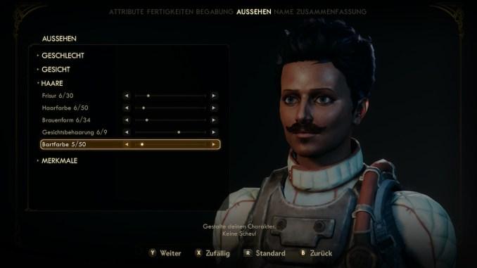 """Das bild zeigt den Charaktereditor aus dem Spiel """"The Outer Worlds"""""""