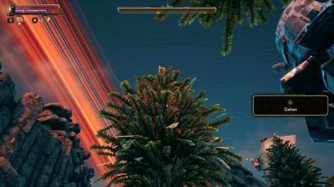 """Das Bild zeigt den himmel und die Bäume aus dem Spiel """"The Outer Worlds"""""""