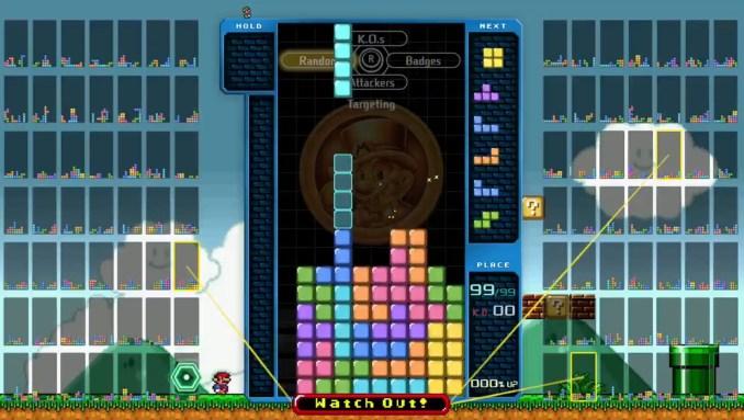 """Das Bild zeigt das """"Super Mario All-Stars""""-Design in """"Tetris 99""""."""