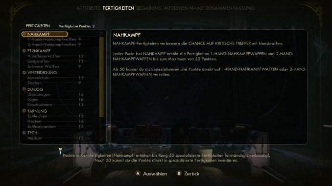 """Das Bild zeigt die Fertigkeiten aus dem Spiel """"The Outer Worlds"""""""
