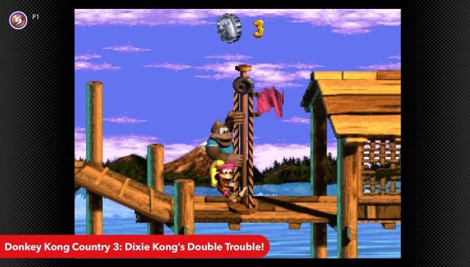 """Das Bild zeigt das Ende eines Levels in """"Donkey Kong Country 3"""", Bestandteil der Nintendo Switch Online-App."""