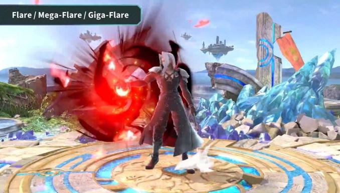 """Das Bild zeigt Sephiroth bei der Ausführung von Flare in """"Super Smash Bros. Ultimate """"."""