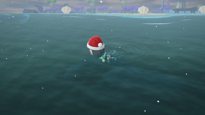 """Das Bild zeigt die Jagd nach den letzten Meerestierchen im Dezember in """"Animal Crossing: New Horizons""""."""