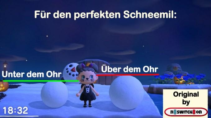 """Das Bild zeigt eine Anleitung für einen perfekten Schneemann in """"Animal Crossing: NEw Horizons""""."""