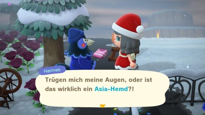 """Das Bild zeigt, wie man einem Nachbar etwas schenkt, um die Freundschaft in """"Animal Crossing: New Horizons"""" zu erhöhen."""
