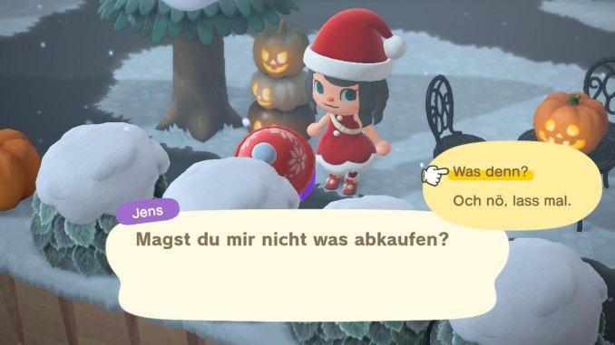 """Das Bild zeigt einen Ankauf von einem Nachbar zur Steigerung der Freundschaft in """"Animal Crossing: New Horizons""""."""