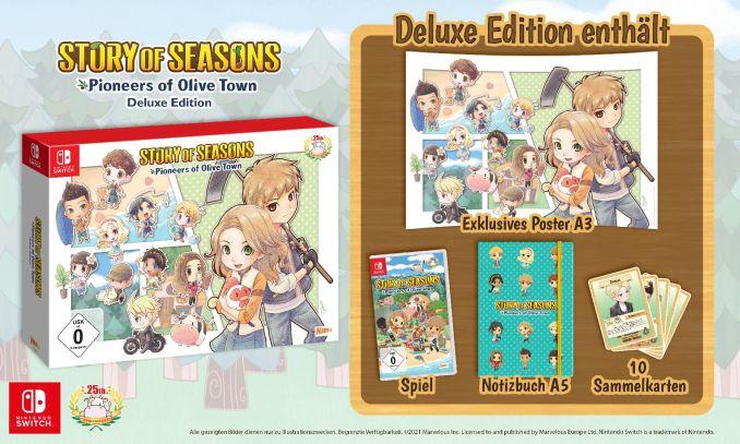 """Das Bild zeigt die Inhalte der Deluxe Edition des Spieles """"TORY OF SEASONS: Pioneers of Olive Town""""."""