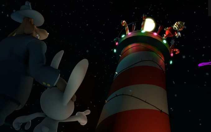 Auf dem Bild sind Sam & Max zu sehen. Beide beobachten den Weihnachtsmann beim Besteigen des Leuchtturms.