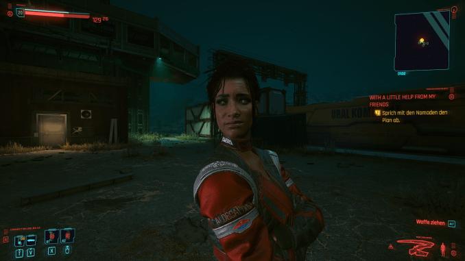 """Das Bild zeigt einen weiblichen Charakter aus """"Cyberpunk 2077"""". Sie schaut sehr skeptisch."""