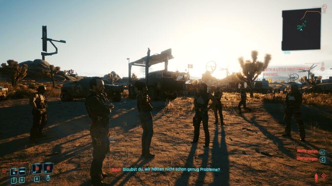 """Das Bild zeigt eine Klan-Diskussion in der Wüste aus """"Cyberpunk 2077""""."""