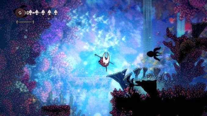 """Das Bild zeigt eine farbenfrohe Welt in """"Hollow Knight: Silksong""""."""