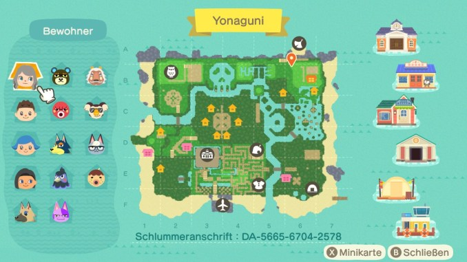 """Das Bild zeigt die Karte von Yonaguni in """"Animal Crossing: New Horizons""""."""
