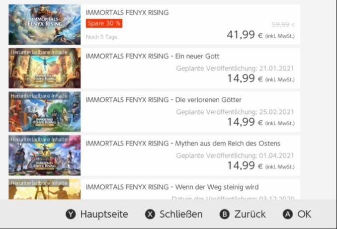 """Das Bild zeigt die Listungen der """"Immortals Fenyx Rising""""-Erweiterungen im eShop."""