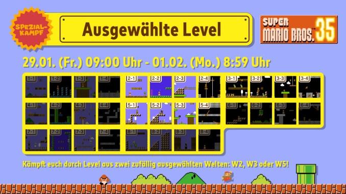 """Das Bild zeigt die ausgewählten Level für das nächste Event in """"Super Mario Bros. 35""""."""