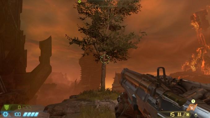 """Auf diesem Bild des Spiels """"Doom Eternal"""" ist ein Baum zu sehen."""