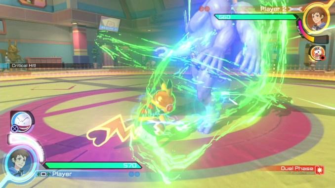 """Das Bild zeigt einen Kampf in """"Pokémon Tekken DX""""."""