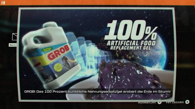 """Auf diesem Bild zum Spiel """"Journey to the Savage Planet"""" ist eine Werbung zu sehen."""