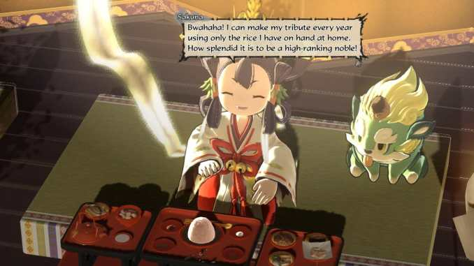 """Das Bild zeigt Sakuna zu Befinn des Banquettes in dem Spiel """"Sakuna: Of Rice and Ruin""""."""