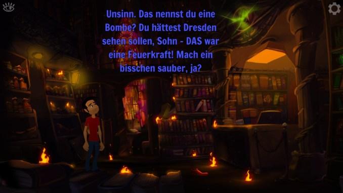 """Auf dem Bild des Spiels """"Gibbous – A Cthulhu Adventure"""" ist ein Innenraum einer Bücherei mit Text zu erkennen."""