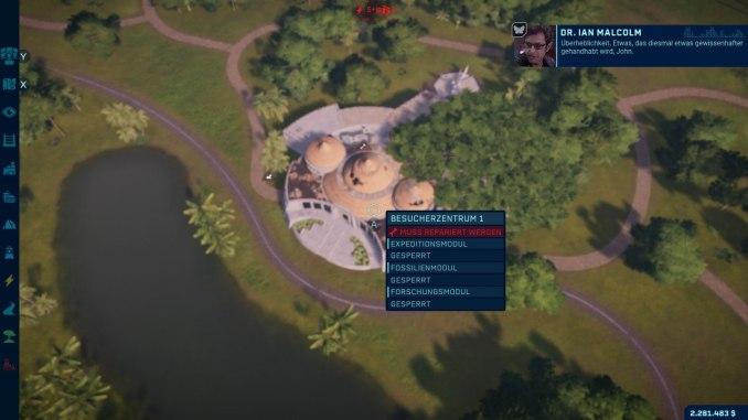 """Das Bild zeigt eine Szene aus dem DLC des Spieles """"Jurassic World Evolution: Complete Edition""""."""