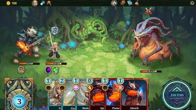 """Das Bild zeigt, einen Kampf gegen ein Monster aus dem Spiel""""Roguebook"""""""