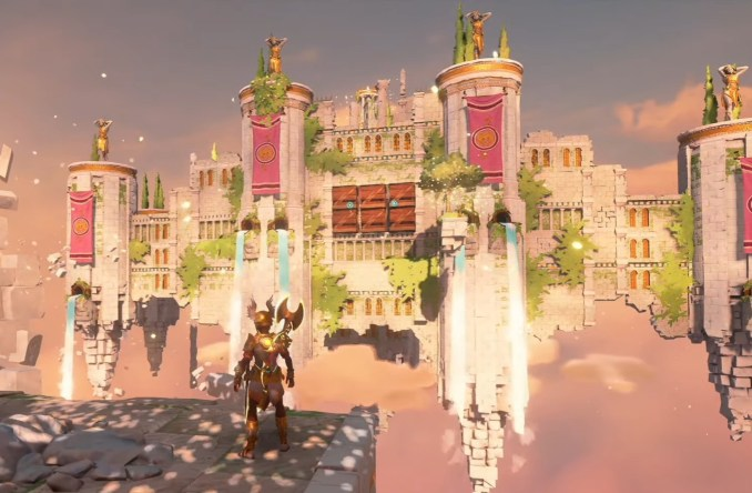 """Das Bild zeigt den Olympos-Palast in der Erweiterung """"Ein neuer Gott"""" von """"Immortals Fenyx Rising""""."""