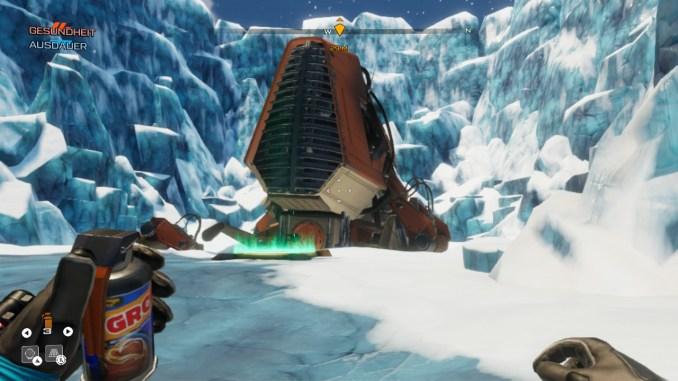 """Auf diesem Bild zum Spiel """"Journey to the Savage Planet"""" ist ein orangenes Raumschiff (Außenansicht) zu sehen."""