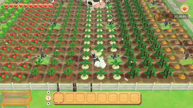 "Das Bild zeigt ein riesiges Gemüsefeld in ""Story of Seasons: Pioneers of Olive Town""."