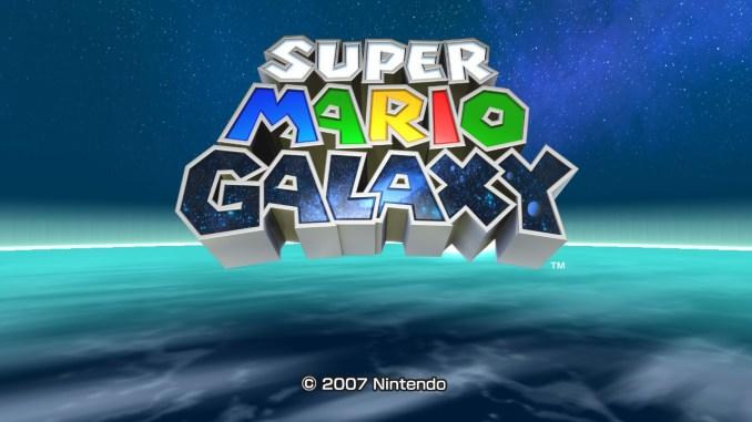 """Das Bild zeigt das Titelbild von """"Super Mario Galaxy"""" aus """"Super Mario 3D All-Stars""""."""