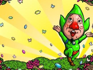 """Das Bild zeigt Tingle, einen Charakter aus """"The Legend of Zelda"""", welcher von Takaya Imamura entworfen wurde."""