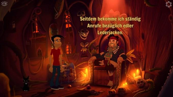 """Auf dem Bild des Spiels """"Gibbous – A Cthulhu Adventure"""" sind zwei Männer und ein Voodoothron mit Text zu erkennen."""
