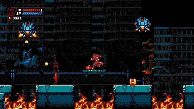 """Das Bild zeigt den Hauptprotagonisten in einer Plattform Passage aus """"Cyber Shadow"""""""