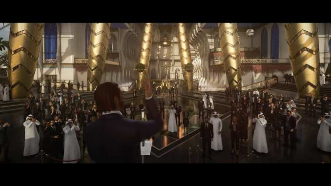 """Das Bild zeigt eine prachtvolle Gala aus dem Spiel """"Hitman 3""""."""
