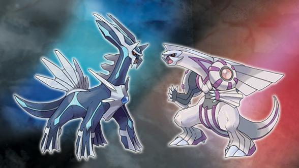 """Dad Bild zeigt Dialga und Palkia aus """"Pokémon Diamant/Perl""""."""