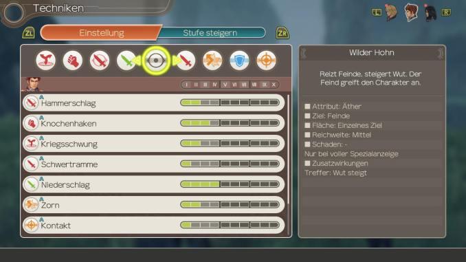 Das Bild zeigt Ein Menü mit verschiedenen Fähigkeiten aus Xenoblade Chronicles