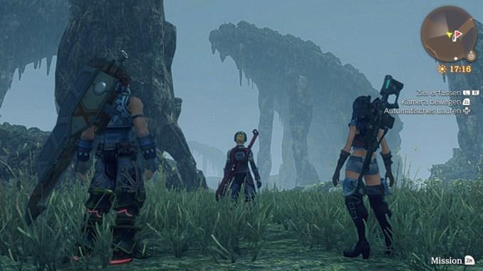 Das Bild zeigt drei Charaktere von Xenoblade Chronicles