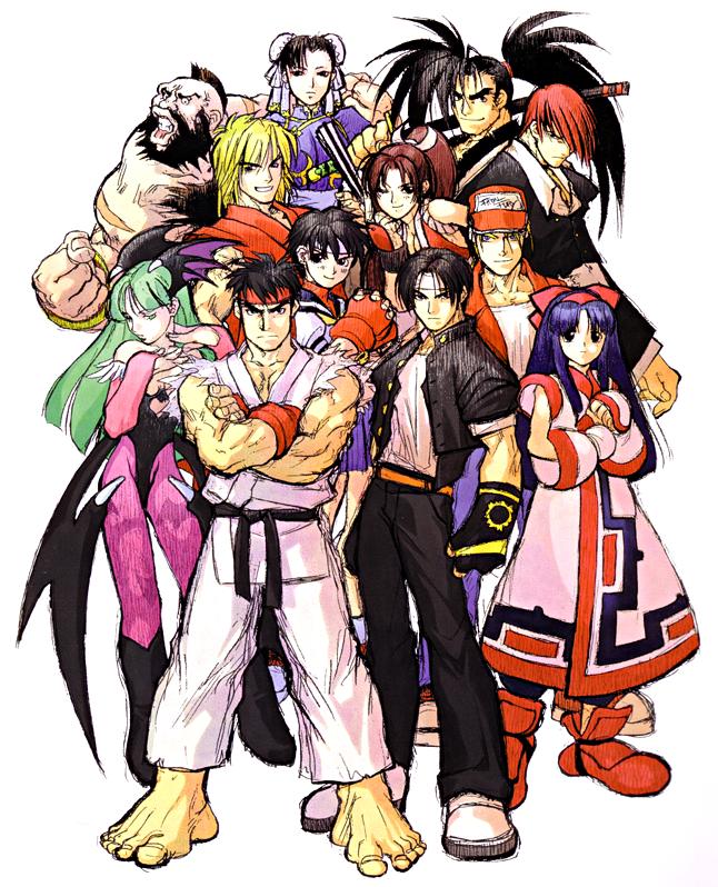 """Das Bild zeigt die Hauptkämpfer aus """"SNK Vs Capcom: Match of the Millenium""""."""