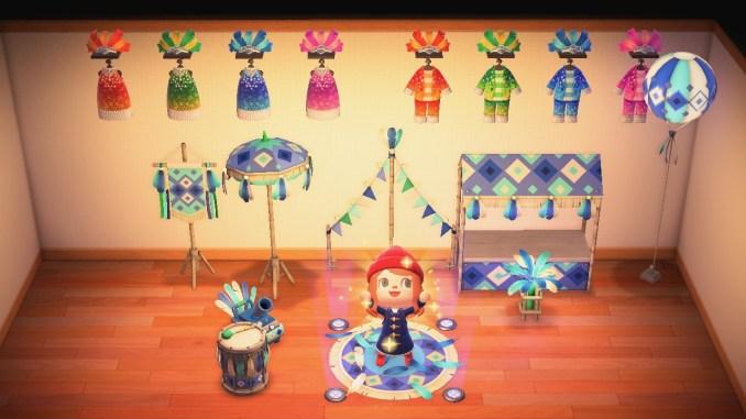 """Das Bild zeigt alle Items und Kleidungsstücke zum Karneval in """"Animal Crossing: New Horizons""""."""