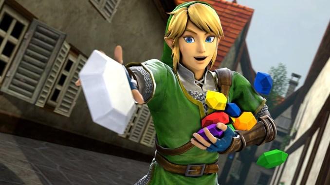 Das Bild zeigt den Protagonisten von The Legend of Zelda mit einer Handvoll Rupees