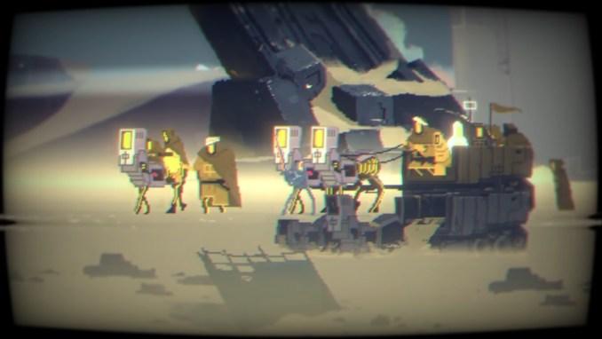 """Das Bild zeigt ein Wüsten-Setting mit einigen Charakteren in """"Narita Boy""""."""