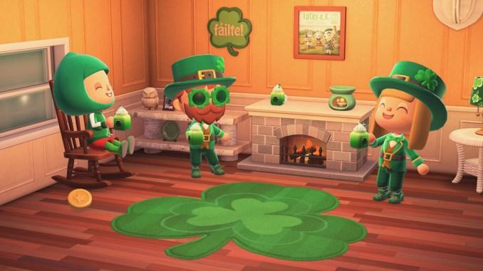 """Das Bild zeigt die Items zum St. Patrick's Day vom Update 1.8.0 für """"Animal Crossing: New Horizons""""."""
