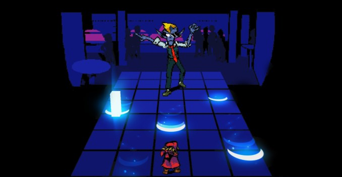 """Das Bild zeigt Red wie er im Dance-Battle bestehen muss aus dem Spiel """"Everhood"""""""